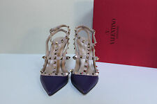 sz 6.5 / 37 Valentino Rockstud Purple T-Strap Pointed toe Slingback Pump Shoes