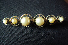 """Vintage Antique PEARL BROOCH Costume Jewelry Great Condition 2 1/4 """" x 1/2 """""""