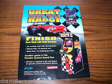 GREAT 1000 MILE RALLY 1994 By KANEKO VIDEO ARCADE GAME MACHINE PROMO SALES FLYER