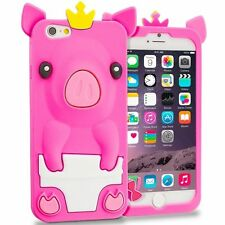 For iPhone 6 / 6S - SOFT SILICONE RUBBER SKIN CASE COVER HOT PINK CUTE PIG