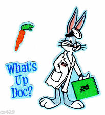 "3"" LOONEY TUNES BUGS BUNNY WHAT'S UP DOC DOCTOR DR SET FABRIC APPLIQUE IRON ON"