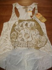 ED HARDY CREAM GOLD EMBELLISHED POKER SKULL TATTOO GRAPHIC HI LO TANK TOP - S