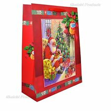3 x Small Red Luxury Christmas Gift Bags -3D Decorative Glitter Paper Bags