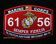 US MARINES MOS 6156 TILTROTOR AIRFRAME MECHANIC MV22 HAT PATCH USS PIN MAW MCAS