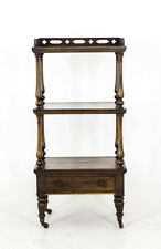 B346 Antique Scottish Victorian 3 Tiered Solid Rosewood Etagere, Table, Server