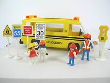 Vintage Playmobil School Bus Set 3170, 4 Figurines, 4 Street Signs and Red Light
