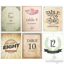 12 Vintage Medley Victorian Personalized Wedding Table Numbers Cards Q18740