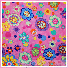 BonEful Fabric Cotton Quilt VTG Rainbow Bright Pink Purple GIRL Flower DOT SCRAP