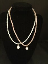 """Set of 2 Pearl Pendant Necklace 16"""" Mint Green and Pink Bead"""