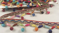 *Beautiful colourful beaded fringe lace trim for crafting decoration 1Metre