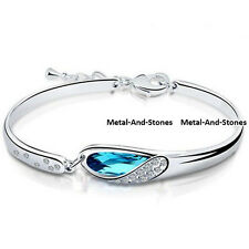 Blue Tear Drop Bracelet Bangle Crystal Unusual Rare Gift For Her Mum Sister