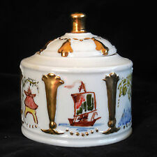 Collectible Vintage Dwight Morris Porcelain Inkwell/ Ink Pot/ Quill Holder