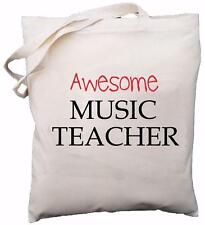 Awesome Music Teacher - Natural Cotton Shoulder Bag - School Gift