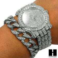 TECHNO PAVE ICED OUT FINISHED LAB DIAMOND SILVER WATCH CUBAN CHAIN BRACELET SET