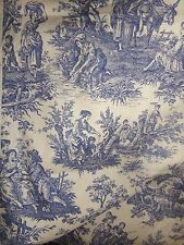 """WAVERLY Country Life BLUE Toile Upholstery Drapery Fabric 8 + YARDS X 54"""" NOS"""
