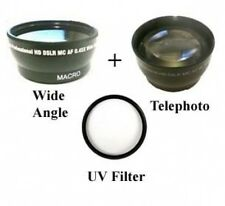 Wide Lens + Tele lens + UV Filter for Sanyo VPC-HD2000ABK VPC-HD2000EX HD2000GX