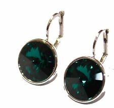 Swarovski Elements Emerald Green Bella Earrings Silver Plated Dangle Earrings