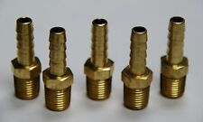 """Brass Fittings: Brass Male Hose Barb, Male Pipe Size 1/4"""", Hose ID 5/16"""", QTY. 5"""