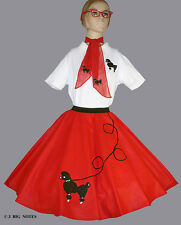"""New 7 Pc Red 50's Adult Poodle Skirt Outfit Large Waist 35-42"""" Length 25"""""""