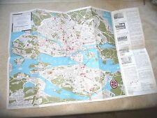 VINTAGE  ILLUSTRATED MAP STOCKHOLM SWEDEN 1960