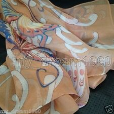 VINTAGE AUTHENTIC 100% SILK SCARF OBLONG WOMEN SCARF Print Butterfly Camel