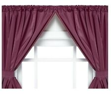 Vinyl Bathroom Window Curtain. 2 Panels with Tie Backs: 5-Guage Burgundy