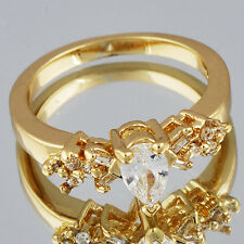 Lady's Ring 18 Yellow Gold Plated  Whie Rhinestone CZ Size 7.5