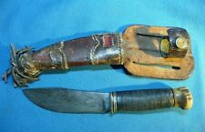Vintage Marble's Gladstone PAT.PEND Woodcraft Hunting Knife Leather Stag Butt