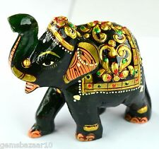 928 Ct Gold Art Work Dark Green Jade Elephant Carved Figurine -Home Decoration