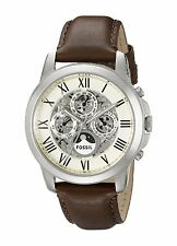 Fossil Men's ME3027 Grant Automatic Multi-Function Skeleton Brown Leather Watch