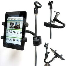 Universal Tablet Holder & HeavyDuty Aluminum Rod Music Mic CLAMP Pole Rail MOUNT