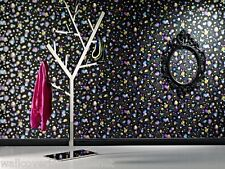 Charcoal, Black, Turquoise, Neon Pink and Yellow, 3D Effect, Bubbles Wallpaper