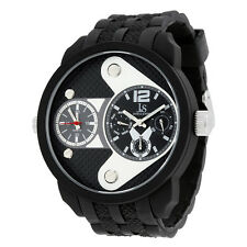 Joshua and Sons Multi-Function Black Dial Black Silicone Mens Watch JS52BK