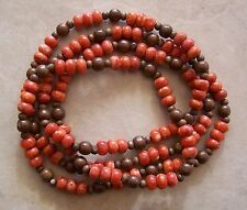 "54"" Strand Orange Red Sponge Coral Rondelle & Wood Round Beads 6mm-11mm Necklace"