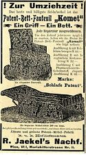 """Patent-Bett-Fauteuil """"Komet"""" Jaekel Wien Historische Annonce 1910"""