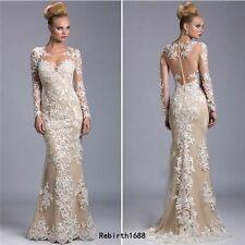 Neu Champagner Spitze Abendkleid Partykleid Langarm Brautkleid Formal Ballkleid