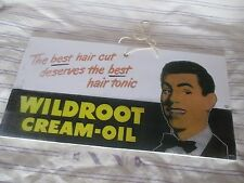 Rare Vintage 1950's Barbershop Hanging Door Wildroot Hair Tonic Sign Drawings