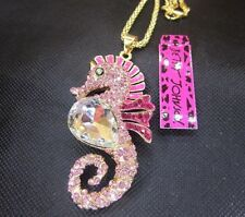 Betsey Johnson pink fashion hippocampal crystal pendant necklace BJ966N