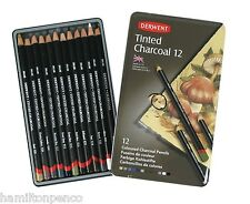 DERWENT TINTED CHARCOAL TIN of 12 coloured charcoal pencils