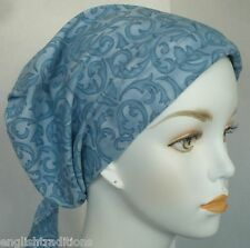 Ladies Blue Chemo Cancer Hat Bad Hair Day Alopecia Scarf Turban Head Cover