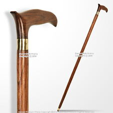 "37"" Handmade Sheesham Wood Gentleman Walking Cane Stick with Brass Neck"