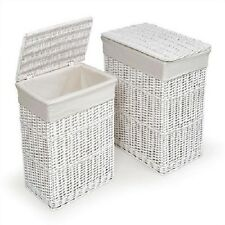 2 Wicker White Laundry Hampers Baskets Liners Dirty Clothes Bath Set Nursery Two