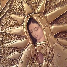 Mexican Vintage Folk Art Our Lady Of Guadalupe Repousse Tin VIRGIN MARY