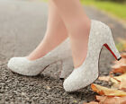 Gorgeous Lace Flowers Princess Party Maid High Heels Women Wedding shoes