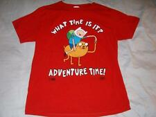 What Time Is It? Adventure Time Cartoon Network Red T-shirt Men's Medium used