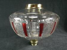 VERY LARGE VICTORIAN CLEAR FACET CUT CRYSTAL OIL LAMP FONT, CRANBERRY DECORATION