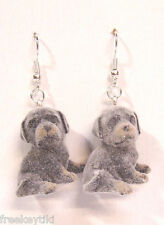 "NEW Rott Rottweiler Dogs Puppies 1"" Mini Figures Fuzzy Flocking Dangle Earrings"
