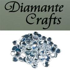 100 x 10mm Clear Diamante Loose Round Flat Back Rhinestone Craft Embellishments