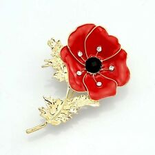 2015 New Red Remembrance Poppy Brooch Pin Bonquet Crystal Badge Gold Flower Gift