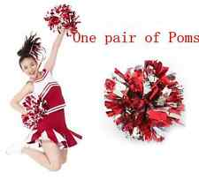 PAIR of Red & Silver Metalic Chearleading ROOTER Pom Poms Dancy Party New